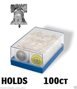 Lighthouse Poker Chip Storage Plastic Box Case Coin Holder for 2x2 Paper Flip