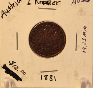 1881 Austria 1 Kreuzer Coin with Display Holder Thecoindigger World Coin Estates