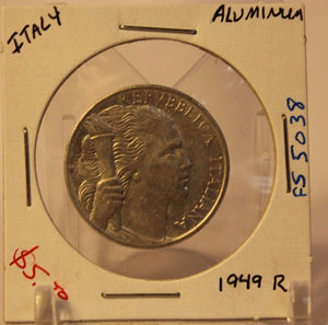 1949 R Italy 5 Lira Aluminum Coin and Holder Thecoindigger World Coins Estates
