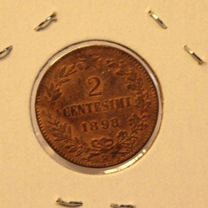 1898 Italy 2 Centesimi Coin with Holder thecoindigger World Estate