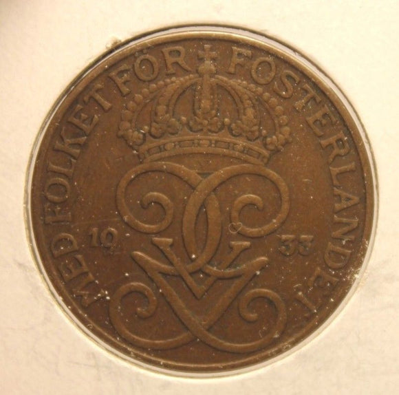 1933 Sweden 5 Ore Key Date Coin with Holder Display thecoindigger World Estate