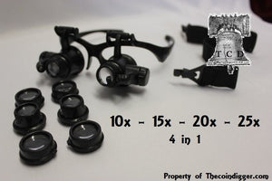 20x Magnifier LED Binocular Dual Magnifying Glasses 4 in 1 Stamp Currency Lens