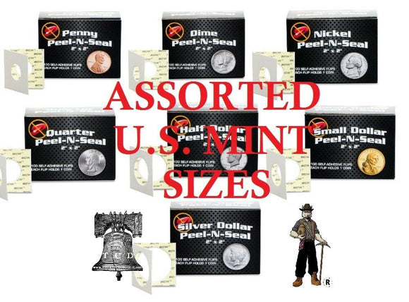 100 BCW Assorted Size 2x2 Self Adhesive Coin Holder Flip Peel-N-Seel Storage