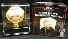 Load image into Gallery viewer, Gold Glove Baseball Holder Display Case Acrylic BCW MLB Autograph Storage Stand
