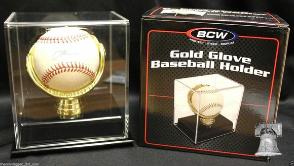 Gold Glove Baseball Holder Display Case Acrylic BCW MLB Autograph Storage Stand