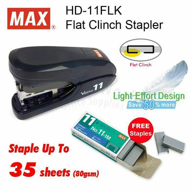 MAX Vaimo 11 Flat Clinch Stapler HD-11FLK Coin Flip Sealer Black + NO.11 Staples