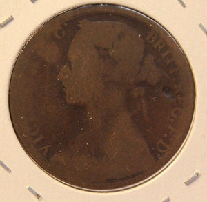 1876 H Great Britain Penny Coin with HolderDisplay thecoindigger World Estates