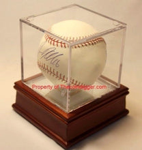 Load image into Gallery viewer, BCW Wood Base Display Stand Mirror Bottom Holder for Baseball Cube BallQube 3.19