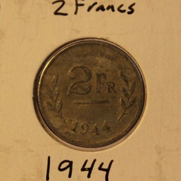 1944 Belgium 2 Francs with Display Holder Thecoindigger World Coins Estates