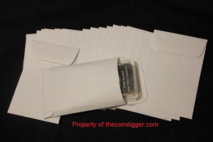100 Coin Envelope Slab Holder Case 3x4.5 10oz Silver Copper Bar White Sleeve