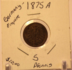 1875 J German Empire 5 pfennig Coin with Holder thecoindigger World Coin Estate