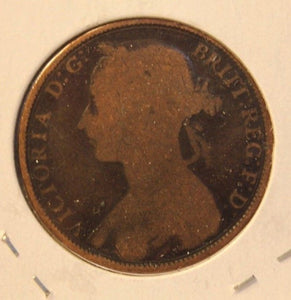 1892 United Kingdom Great Britain Penny Coin and Display Holder Thecoindigger