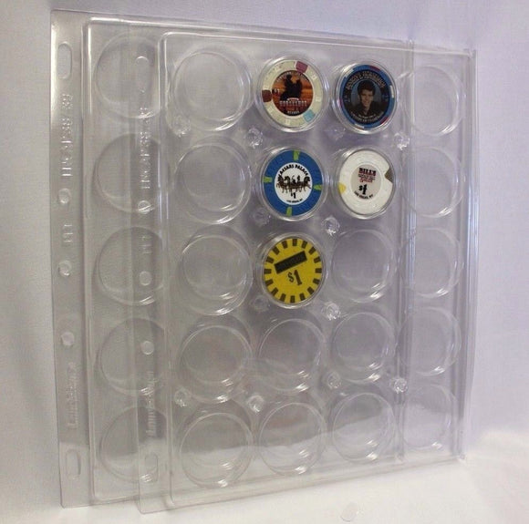 2 Lighthouse ENCAP Capsule 38/39mm Poker Chip Coin Holder Page 20 Pocket 38/39
