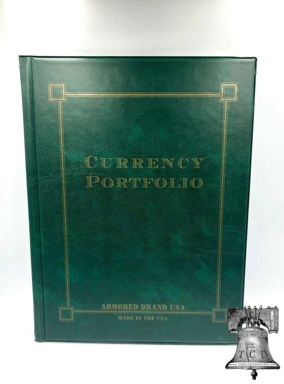 Green Currency Portfolio Banknote Holder Album Folder Case Armored Brand USA