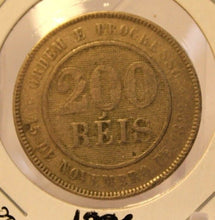 Load image into Gallery viewer, 1896 Brazil 200 Reis Coin with Display  Holder thecoindigger World Coin Estates
