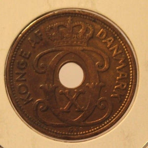 1927 Denmark 5 Ore Coin with Display Holder Thecoindigger World Estates