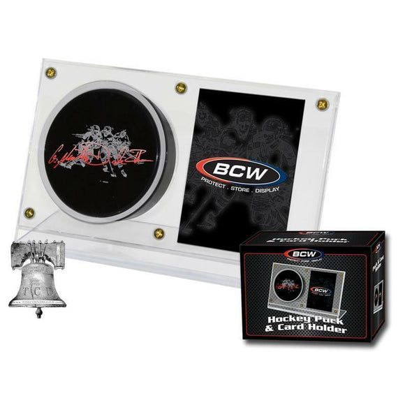 BCW Hockey Puck and Card Holder Display Crystal Clear Plastic Autograph Case NHL