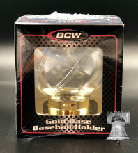 Load image into Gallery viewer, Baseball Holder BCW Deluxe Display Case Original Gold Base Stand MLB Autograph