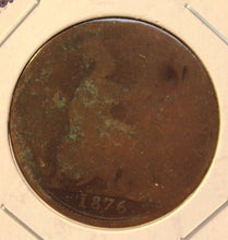 Load image into Gallery viewer, 1876 H Great Britain Penny Coin with HolderDisplay thecoindigger World Estates