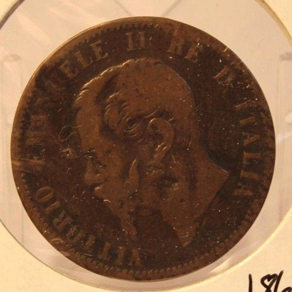 1866 N Italy 10 Centesimi Bronze Coin and Holder Thecoindigger World Coins