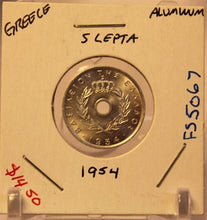 Load image into Gallery viewer, 1954 Greece 5 Lepta Coin with Holder thecoindigger World Estates