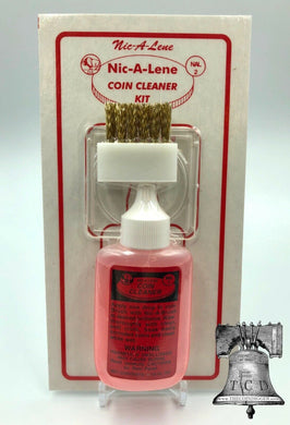 Nic A Lene Kit Coin Cleaner Penny Nickel W/ Brush & Holder Acid Bottle 1.25oz