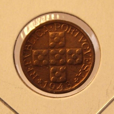 1943 Portugal 10 Centavo Coin with Display Holder thecoindigger World Estate