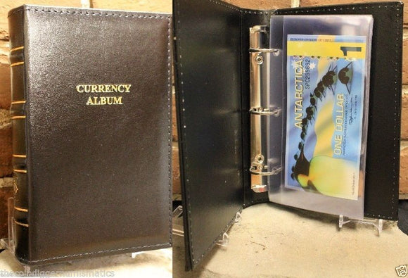 Currency Holder Album + 20 Binder Page Modern Banknote Sleeve Lighthouse LEATHER