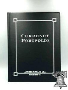 Black Currency Portfolio Banknote Holder Album Folder Case Armored Brand USA