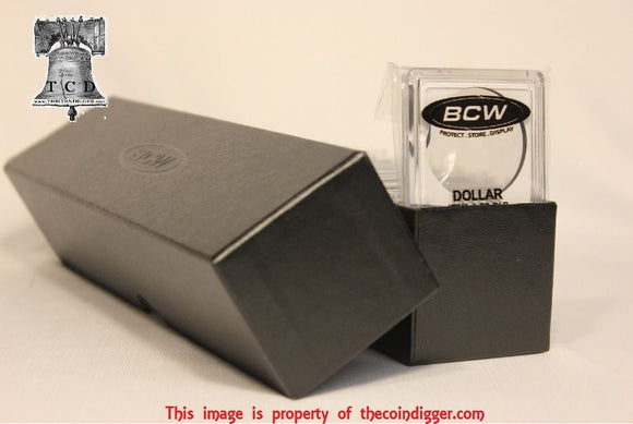 25 - 2x2 Snap Capsules Coin Holder & BCW Black Storage Box