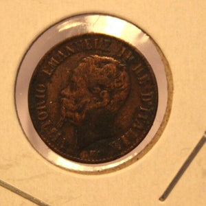 1867 M Italy 1 Centesimo Coin with Holder thecoindigger World Estates
