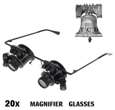 20x Magnifier LED Binocular Dual Magnifying Glasses Coin Stamp Currency Error