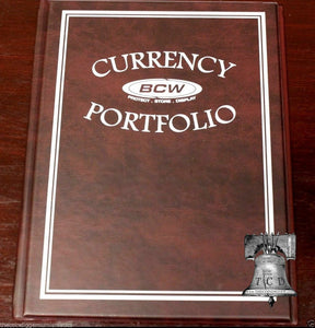 BCW Currency Album Portfolio 3 Pocket 10 Page BURGUNDY Banknote Holder Book Case