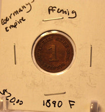 Load image into Gallery viewer, 1890 F German Empire 1 pfennig Coin with Holder thecoindigger World Coin Estate