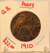 Load image into Gallery viewer, 1910 United Kingdom Great Britain Penny Coin and Holder Thecoindigger UK Europe