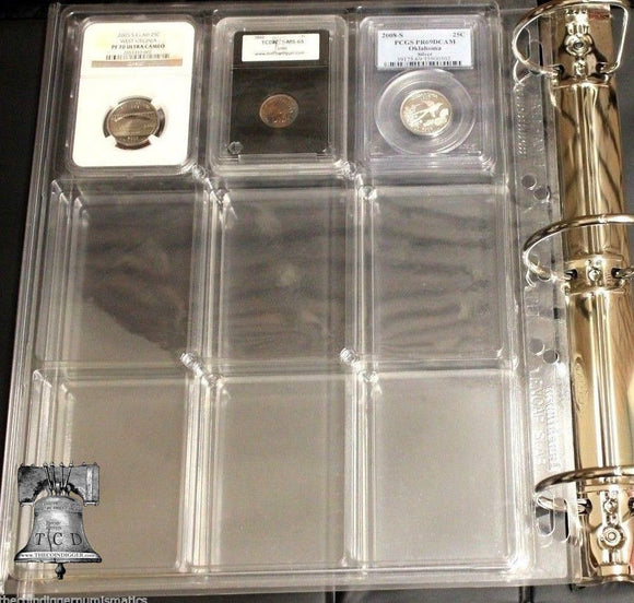 2 Lighthouse ENCAP Slab Coin Holder Album Binder Page for NGC PCGS QUICKSLAB