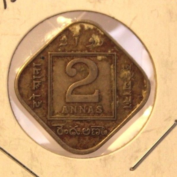 1935 British India 2 Annas Coin with Display Holder thecoindigger World Estate