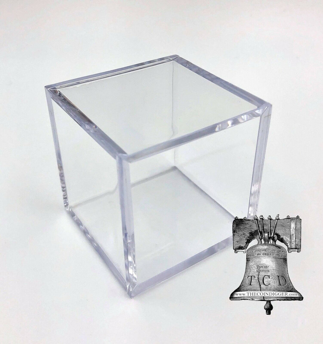 6 Rock Mineral Fossil Holder Display Square Case BCW 2x2x2 Stackable Cube Stand