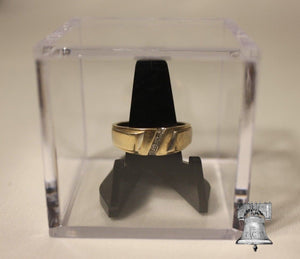 Ring Holder Display Case Box Championship College Wedding 2x2x2 Cube Black Stand