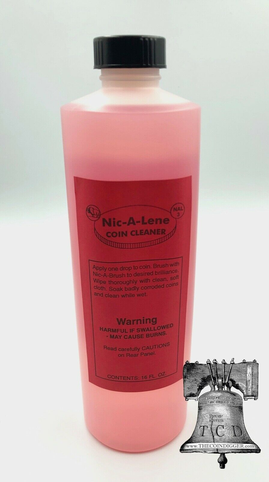 Nic A Lene Coin Cleaner for US Cent Nickel Magic Clean Acid Economy Bottle 16oz