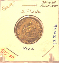 Load image into Gallery viewer, 1922 France 1 Franc Coin with Display Holder Thecoindigger World Estates