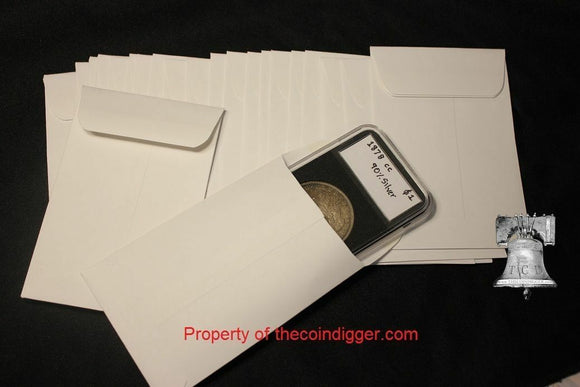 25 Coin Envelope Crown Flip Holder Case 3x4.5 White Sleeve Holds 3x3 Vinyl Flips