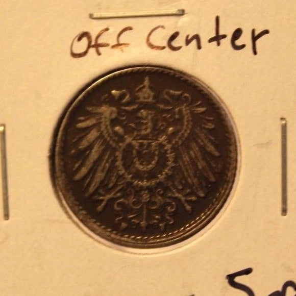 1917 F Germany 5 pfennig Off center Coin with Holder thecoindigger