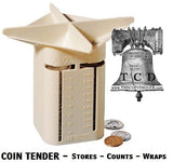Coin Tender Change Sorter Counter MMF + 20 QUARTER Bank Wrappers + Storage Box