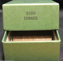 Load image into Gallery viewer, Dime Coin Roll GREEN Storage Box - MMF Holds up to 20 Rolls Wrappers DIMES