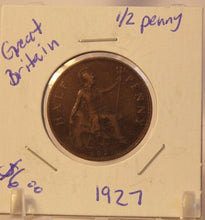 Load image into Gallery viewer, 1927 Great Britain 1/2 Penny Coin with Holder Thecoindigger World Coins Estates