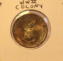 Load image into Gallery viewer, 1944 Phillipines 5 Centavo Bronze Coin with Holder thecoindigger World Estate