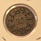1895 Switzerland 10 Rappen Coin with Display Holder thecoindigger World Estate