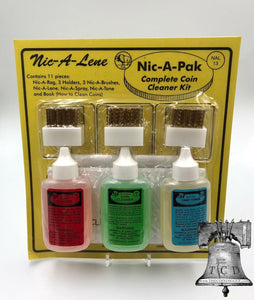 Nic A Pak Coin Cleaner Cent Toner Gold Silver Magic Clean Acid w/ Brush & Holder