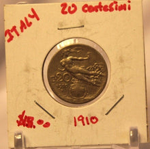 Load image into Gallery viewer, 1910 Italy 20 Centesimi Coin with Display Holder thecoindigger World Estate